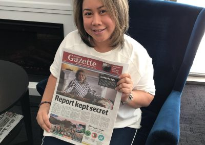 Norita Omar on front page of Gazette Newspaper